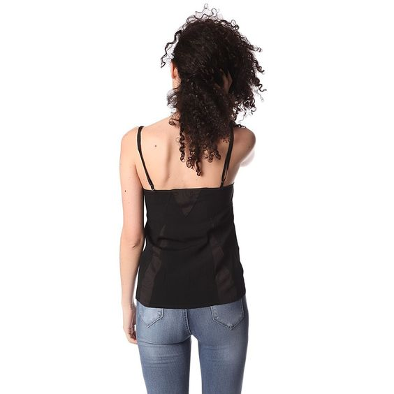 Black cami top with lace detail