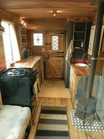 Idea To Remodel A Camper Or Single Wide Love The Tiny Wood Stove