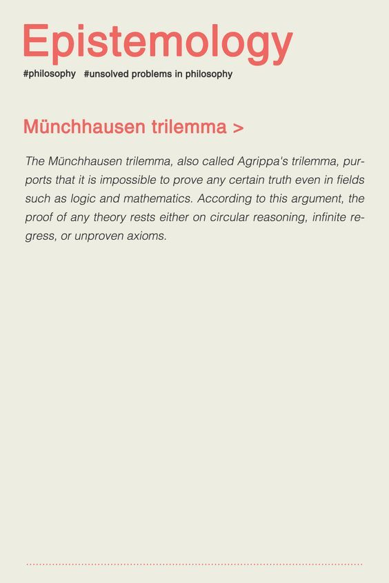 The Munchhausen Trilemma Also Called Agrippa S Trilemma Purports