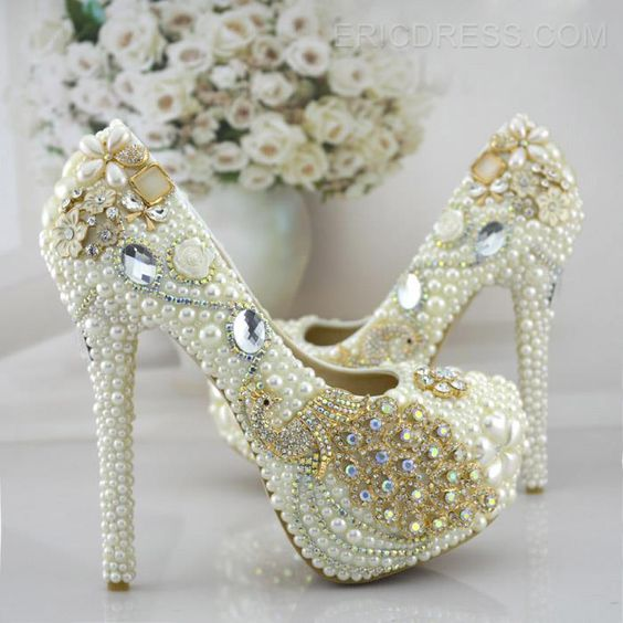 pearl shoes with peacock jewel