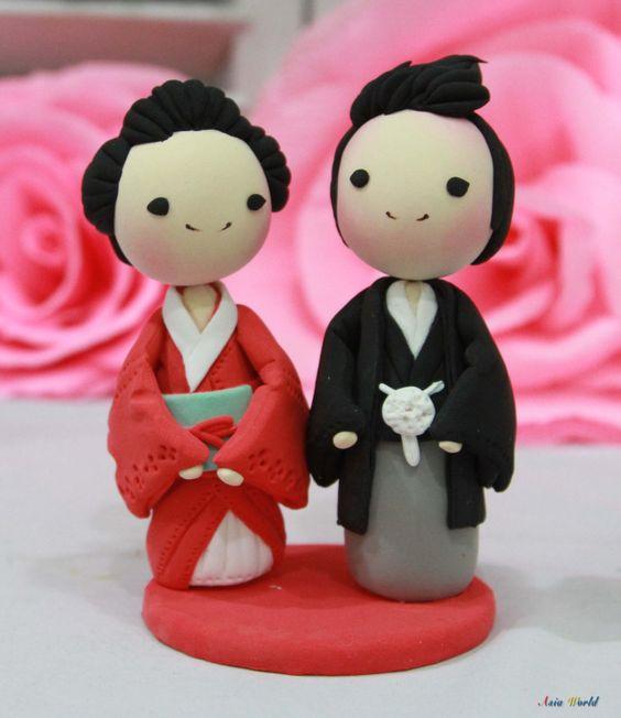 Wedding Decoration Japan: Wedding Cake Topper Kimono Japan Traditional Wedding