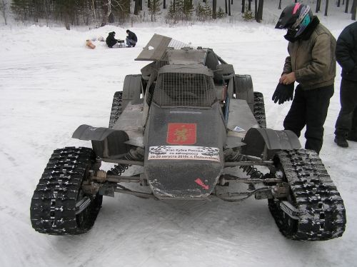 Custom tracked vehicle built for amateur race in Aydashki, Russia.