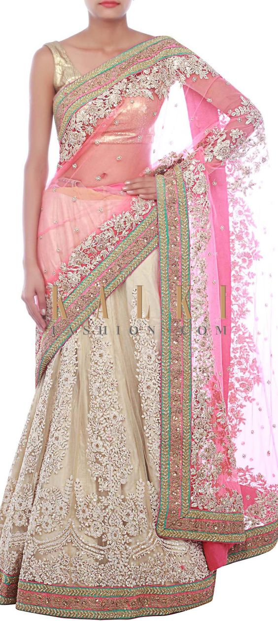 Buy Online from the link below. We ship worldwide (Free Shipping over US$100) http://www.kalkifashion.com/pink-nd-beige-lehenga-saree-embellished-in-kardana-and-thread-embroidery-only-on-kalki.html