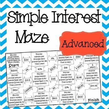 math worksheet : simple interest maze  advanced  maze and simple : Simple Interest Math Worksheets