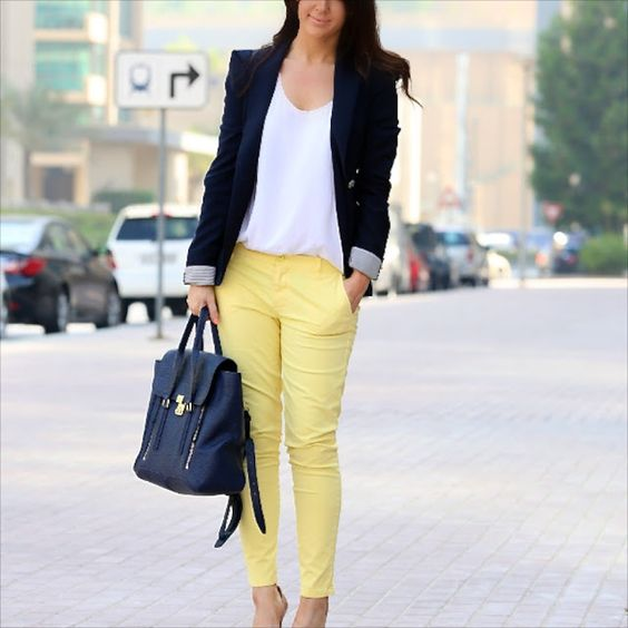 Yellow Pants, White shirt, Band Jacket, TAN shoes
