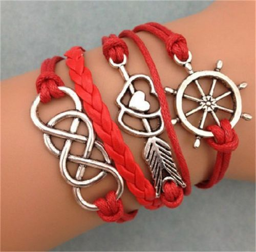 Silver Plated Infinity Stone Mandrel Wheel Leather Charm Bracelet