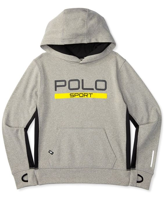 Sleek graphics and Ralph Lauren's ThermoVent technology make this moisture-wicking hoodie an athletic essential for soccer practice and neighborhood adventures. | Polyester | Machine washable | Import