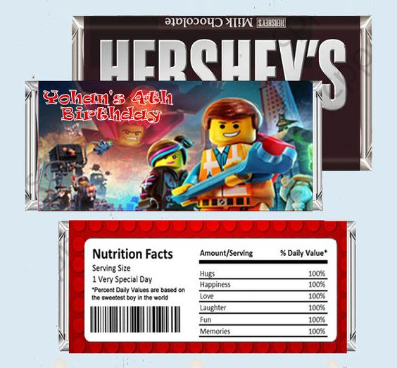LEGO MOVIE Candy Bar Wrappers, Hershey Bar Wrappers #Lego