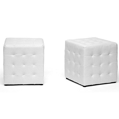 Tufted Ottoman Set Of 2 Low Seating Ottoman Space Saver Sqaure Contemporary Cube Stool Seat Faux Leather Lightweight S Ottoman Set Tufted Ottoman Small Pillows
