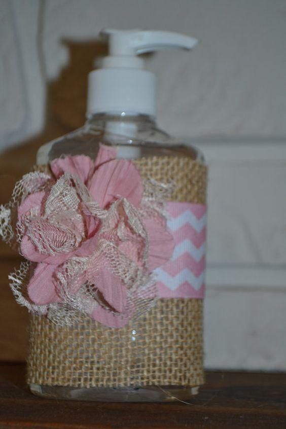 Pink Burlap Hand Sanitizer by YallComeBackDecor on Etsy, $8.00