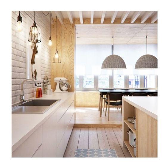 La combinaci n de esta cocina blanca con madera clara - Cocinas madera clara ...