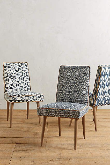 Great way to add interest & color in dining room with these chairs. Tiled Zolna Chair - anthropologie.com
