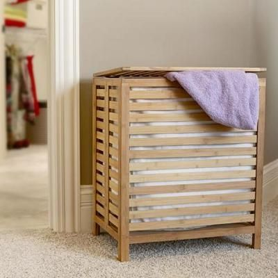 Household Essentials Natural Bamboo Laundry Hamper With A Hinged