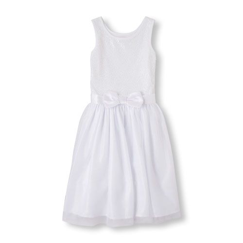 Girls Sleeveless Sequins And Bow Flare Communion Dress - White - The Children's Place