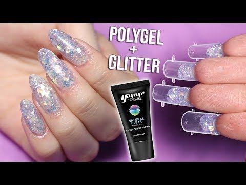 Mixing Polygel And Glitter Dual Form Nails Youtube Diy Acrylic Nails Nails Gel Nails