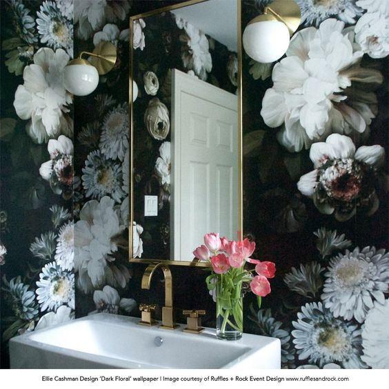 23 Floral Wallpaper Designs Decor Ideas: Dark Floral Wallpaper - By Ellie Cashman Design