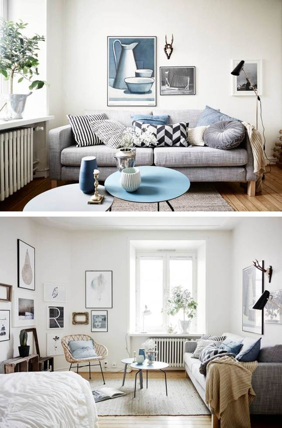 Contemporary Studio Apartment Design: A TINY STUDIO APARTMENT WITH TOUCHES OF BLUE