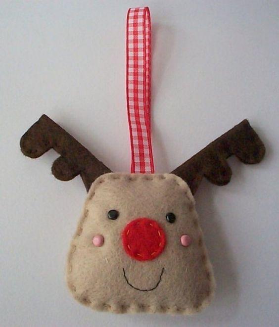 BULK BUY 12 Handmade REINDEER Felt Christmas Decorations