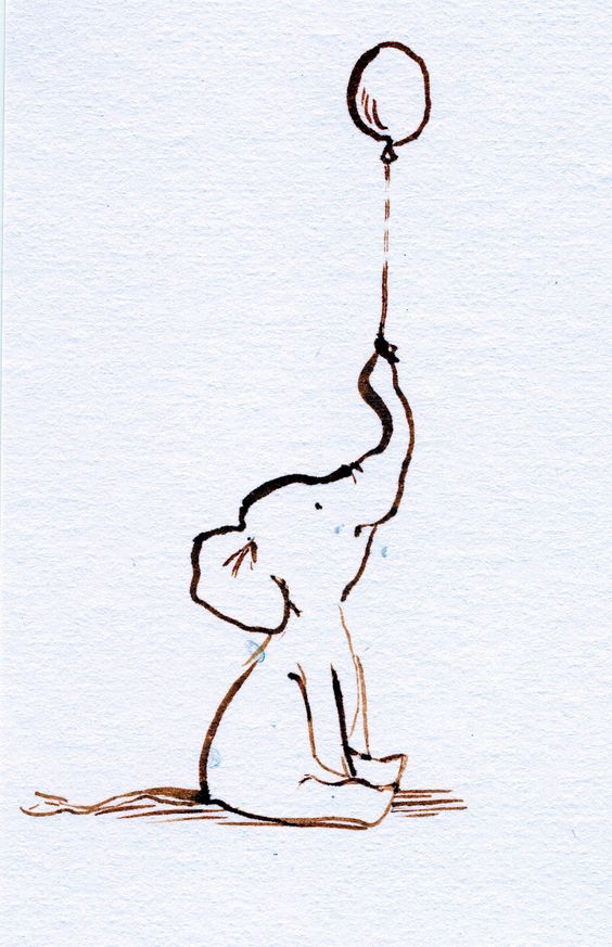 baby elephant with balloon sketch   Mother and Baby Elephant ...