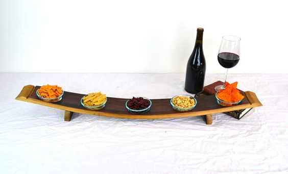 Wine Barrel Stave snack serving dish V5 made from Napa Wine Barrels -100% recycled on Etsy, $80.00