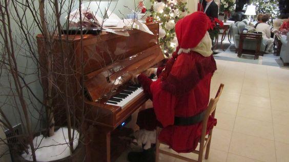 Santa playing player piano