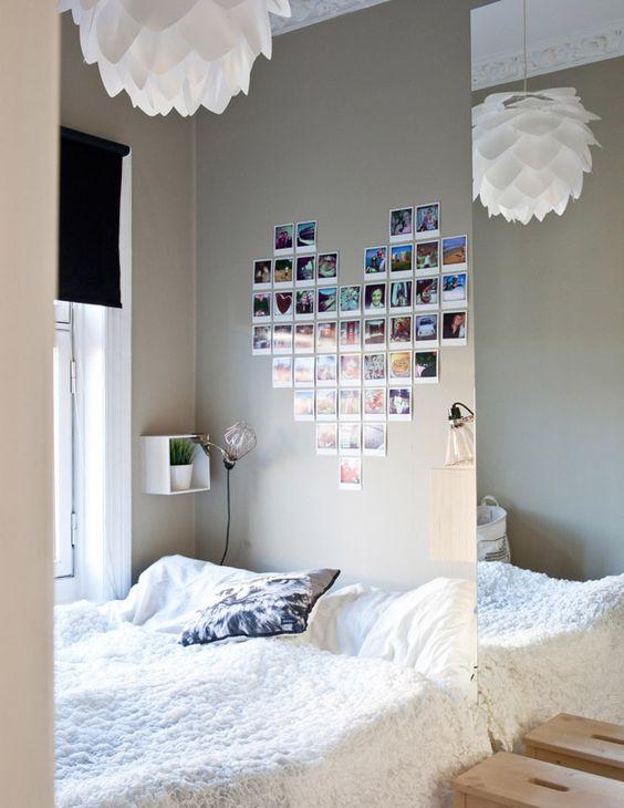 Fotos para decorar- Coração de fotos na parede do quarto: