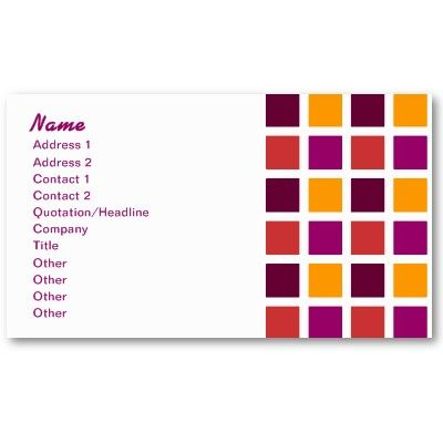 Retro Business Plum Squares Pattern Business Card Template $19.10