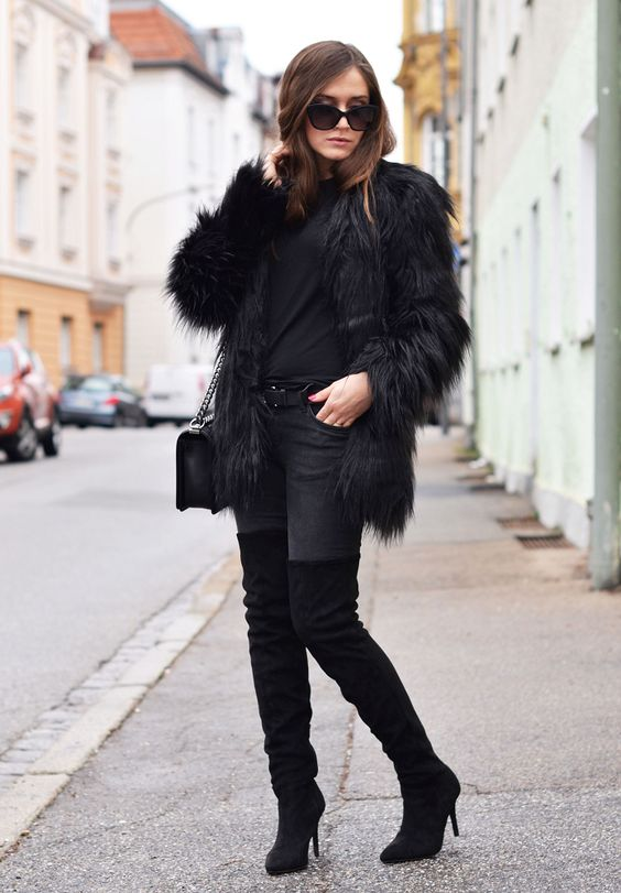 agnesska fashion: Todays Outfit | Black Fur & Over the Knee Boots