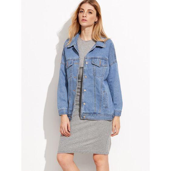 Blue Drop Shoulder Boyfrind Pockets Denim Jacket (2.335 RUB) ❤ liked on Polyvore featuring outerwear, jackets, denim jacket, pattern jacket, blue denim jacket, lapel jacket and short jacket