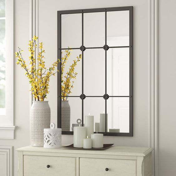 Kristofer Window Pane Wall Mirror Mirror Wall Metal Window Frames Window Mirror