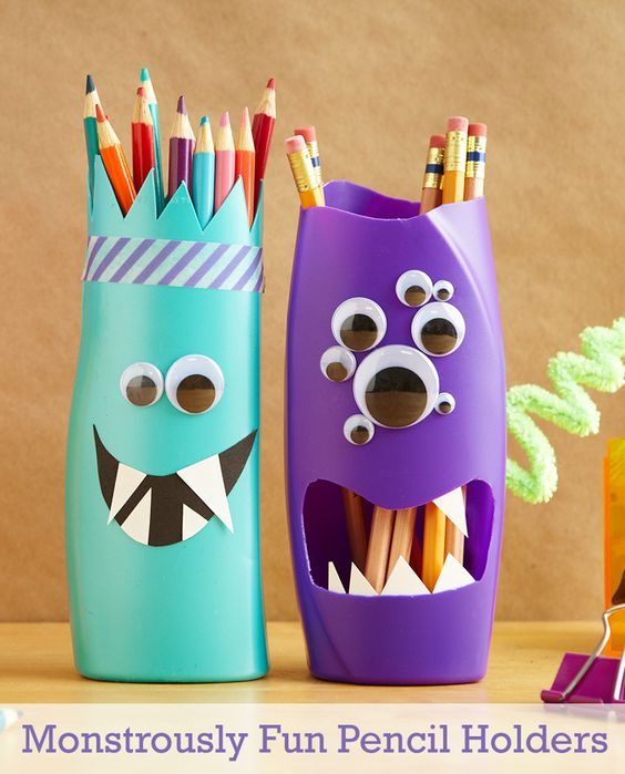 Turn shampoo bottles into pencil holders that are scary easy: http://www.pgeveryday.com/home-garden/crafts/article/monstrously-fun-diy-pencil-holders: