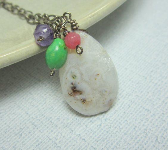 Quartz Gemstone Necklace, Quartz Jade Amethyst Turquoise Necklace, Quartz Pendant Necklace