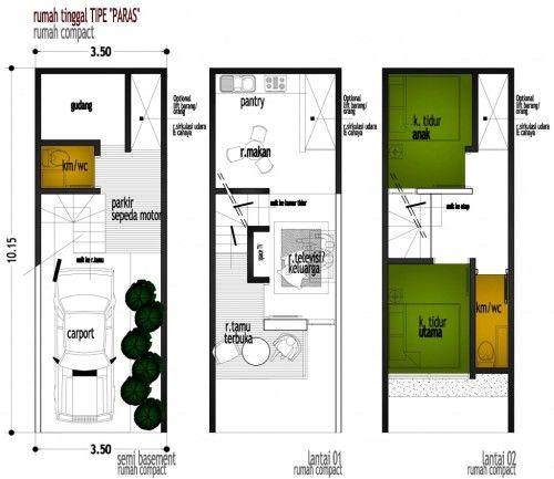 Denah Rumah Minimalis Ukuran 5x10