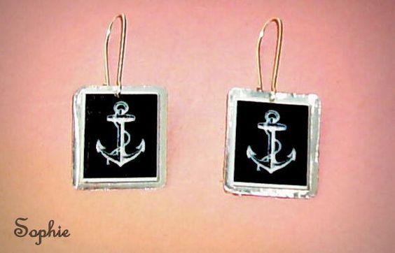 χειροποίητα σκουλαρίκια με υγρό γυαλί, άγκυρες #earrings #handmade #anchors #summer #accessories https://www.facebook.com/Sophies-world-712091558842001/
