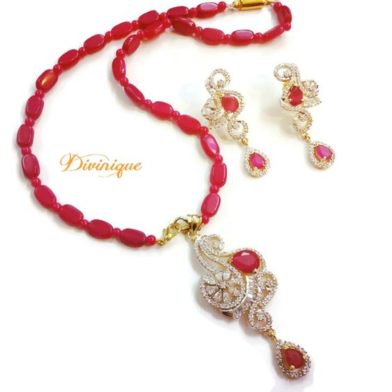 Designer #ruby #ad #pendent set buy online with Cash on Delivery from #craftshopsindia