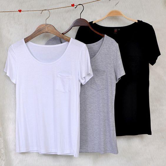 2015 moda plus size roupas camisa de manga curta básica de manga curta o pescoço modal bolso de algodão feminino solta t shirt branco puro em Camisetas de Roupas e Acessórios Femininos no AliExpress.com | Alibaba Group