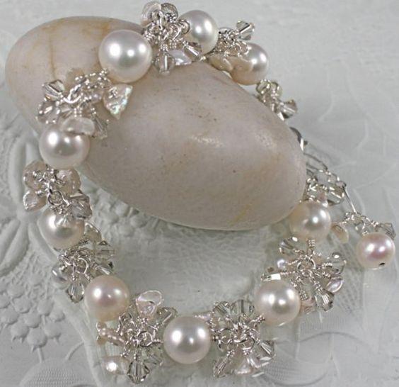 Pearl Wedding Bracelet - Sterling Silver Bridal Charm Bracelet- REAL PEARLS and SWAROVSKI Crystals