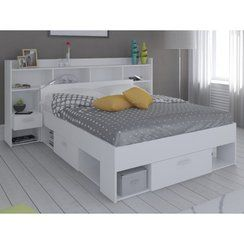 photo soldes 62 lit t te de lit kylian avec rangements 140x190cm blanc ancien prix. Black Bedroom Furniture Sets. Home Design Ideas