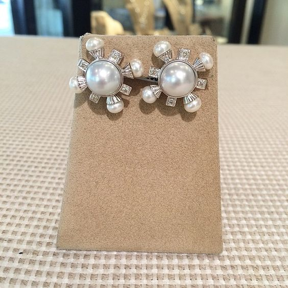 Sterling Silver and Freshwater Pearl Earrings with Diamonds. www.laurapearce.com