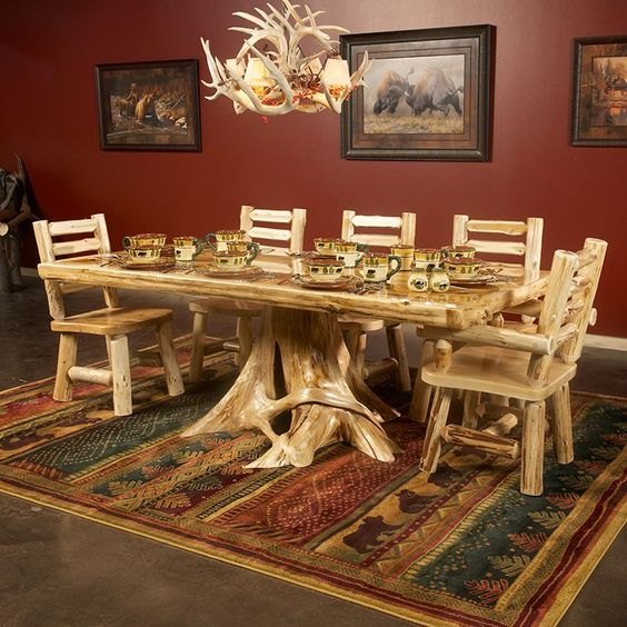 Bringing The Outdoors In Kitchen Dining Great Room: Cedar Lake Solid Wood Dining Table On Stump