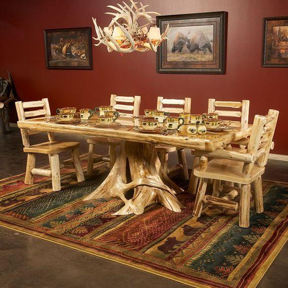 Cedar Dining Room Table: Cedar Lake Solid Wood Dining Table On Stump