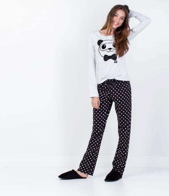 Pijama Feminino com Estampa de Panda - Lojas Renner