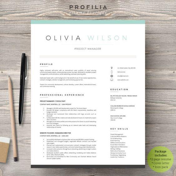 Modern Resume Template - Profilia Resume Boutique on Etsy! www.profilia.ca #resume #resumetemplate #modernresume