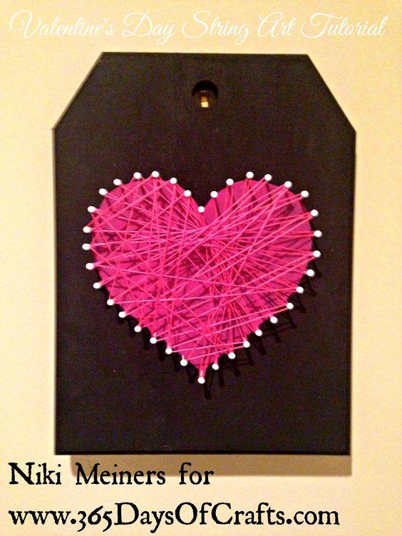 Valentines day heart home decor string art: