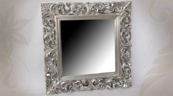 12869 miroir mural 100 cm miroir baroque argente cadre en for Grand miroir mural baroque