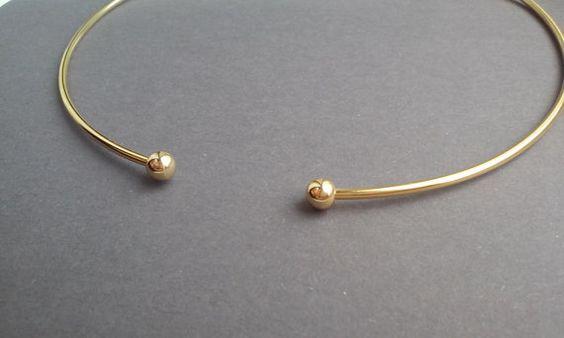 Open Choker / Gold Rigid Necklace / Neck Cuff / by JulenJewel