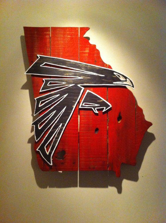 Wooden State Of Georgia With Atlanta Falcons Logo