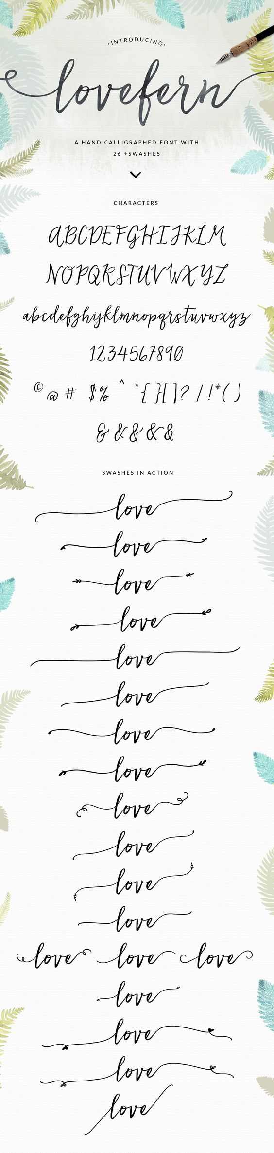 Lovefern Font + SWASHES by abaldelomar on @creativemarket
