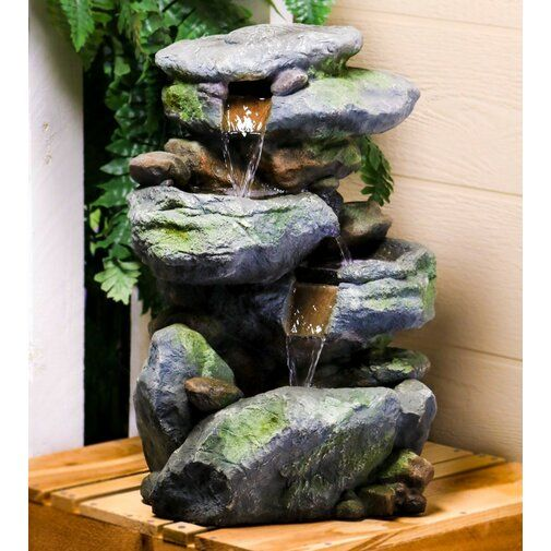 Fiberglass Outdoor 3 Tier Rock Water Fountain With Light In 2020
