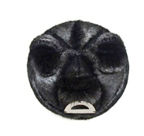 "Noon Passama black  portrait brooch - ""Portrait # 16"" , 2013 Leather, fur, oxidized silver mouth, oxidized silver backing, remanium pin 10.6 x 10.6 x 5.5 cm:"